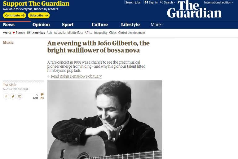 Imprensa estrangeira repercute morte de João Gilberto; veja