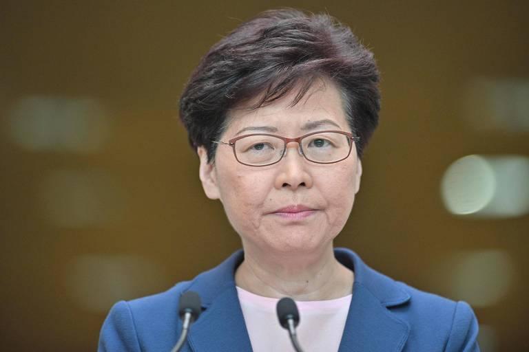 A chefe-executiva de Hong Kong, Carrie Lam, durante entrevista coletiva em que falou sobre fim do projeto de lei de extradição
