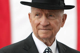 H. Ross Perot at the U.S. Army John F. Kennedy Special Warfare Center and School in Fort Bragg North Carolina