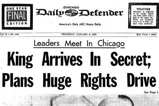 An image provided by the Chicago Defender shows the front page of the publication from January 6, 1966, when the Rev. Dr. Martin Luther King Jr. visited to announce plans for the Chicago Freedom Movement.