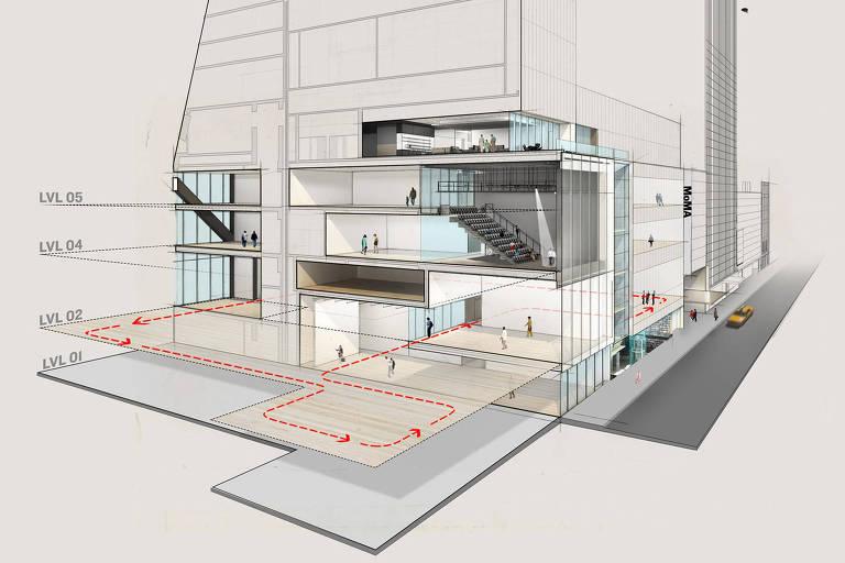 Simulação em perspectiva das novas galerias que serão inauguradas pelo MoMA (Museu de Arte Moderna de Nova York)