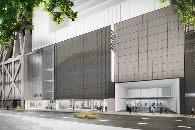 Simulação da fachada do MoMA (Museu de Arte Moderna de Nova York) após as reformas