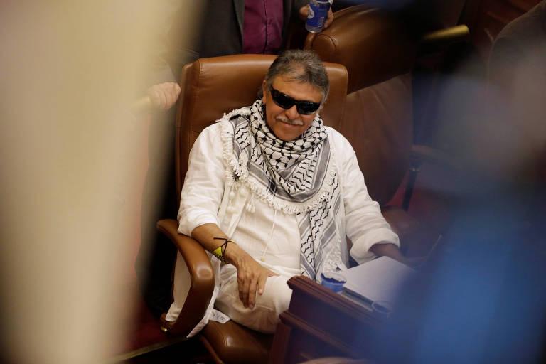 O ex-guerrilheiro Jesús Santrich em sessão no Congresso colombiano