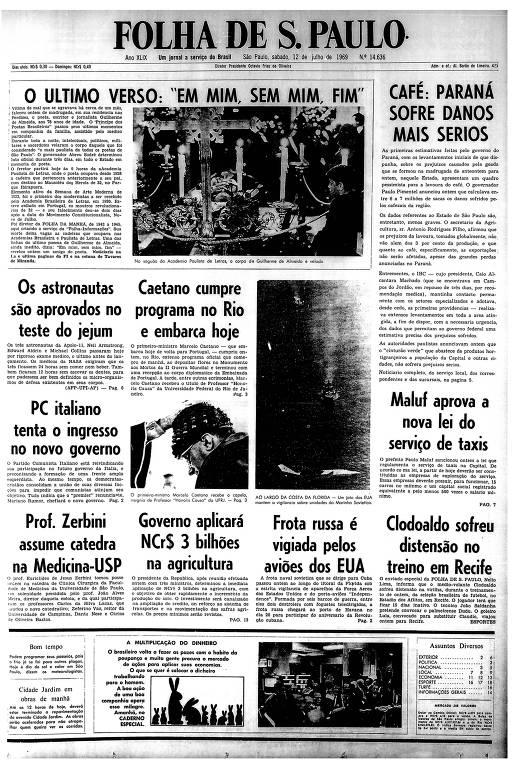 Primeira Página da Folha de 12 de julho de 1969