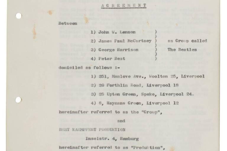 Primeiro contrato assinado pelos Beatles é leiloado por R$ 1,3 milhão