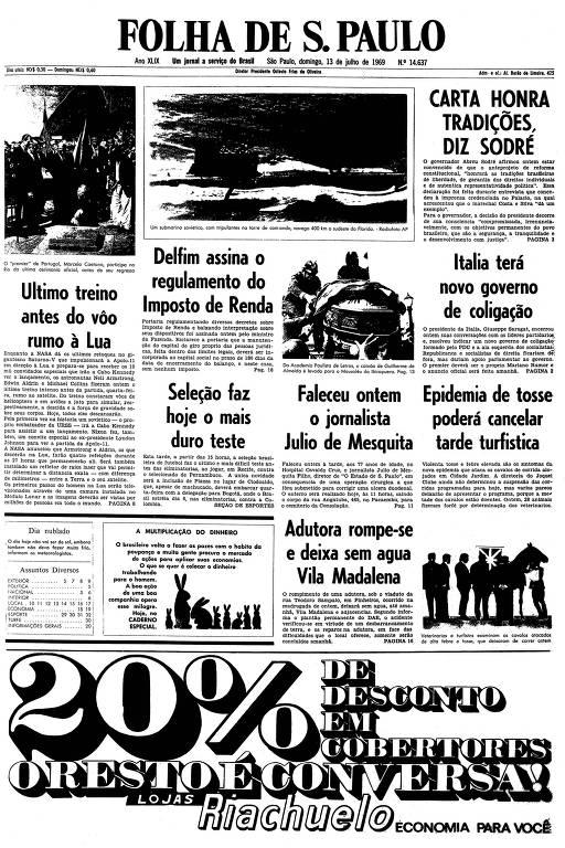 Primeira página da Folha de S.Paulo de 13 de julho de 1969