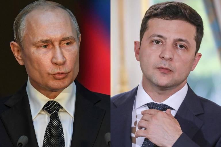 Os presidentes da Rússia, Vladimir Putin, e da Ucrânia, Volodimir Zelenski, em fotos separadas