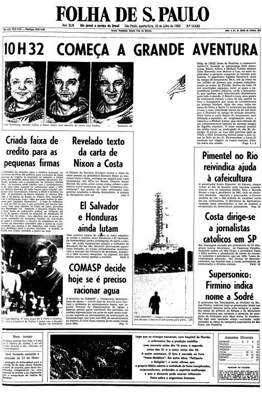 Primeira página da Folha de S.Paulo de 16 de julho de 1969