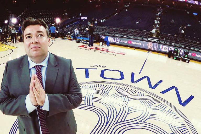 Rômulo Mendonça na Oracle Arena nas finais da NBA