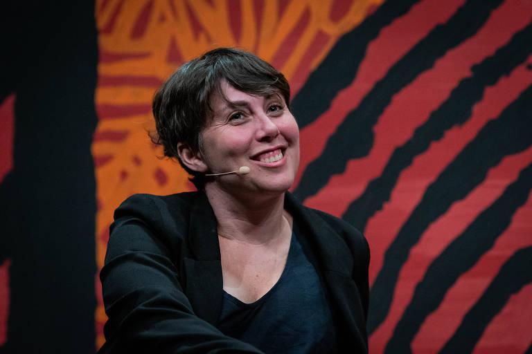 A escritora Kristen Roupenian, durante a mesa 'Bom Conselho' da Flip 2019