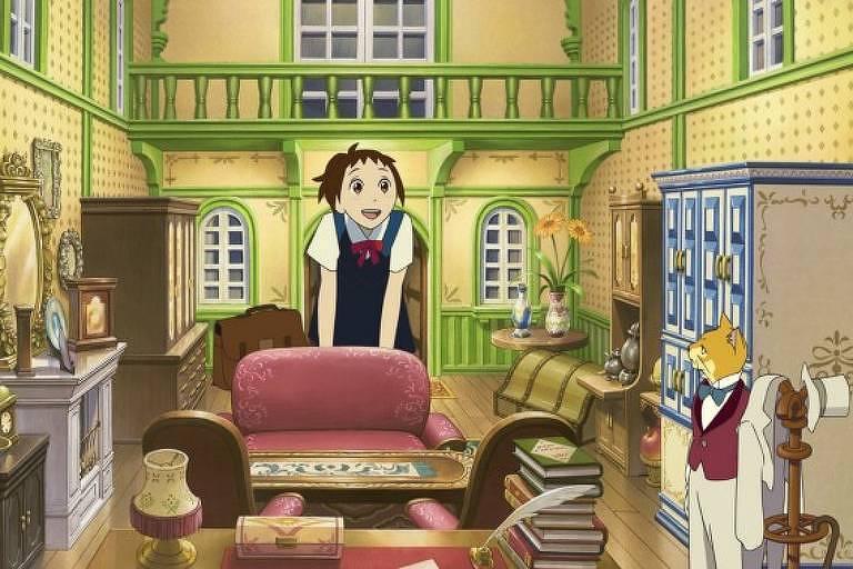 """Cena da animação """"O Reino dos Gatos"""" (2002), do estúdio Ghibli"""