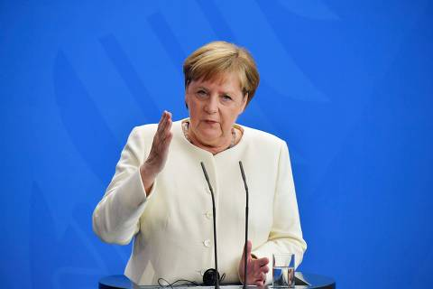 German Chancellor Angela Merkel addresses a joint press conference with Denmark's Prime Minister after talks on July 11, 2019 at the Chancellery in Berlin. (Photo by Tobias SCHWARZ / AFP)