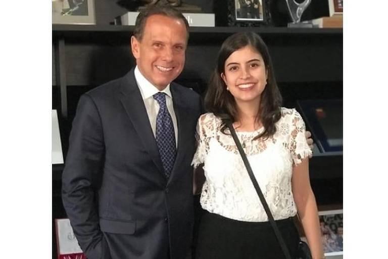 O governador João Doria e a deputada Tabata Amaral, em encontro em abril, em São Paulo
