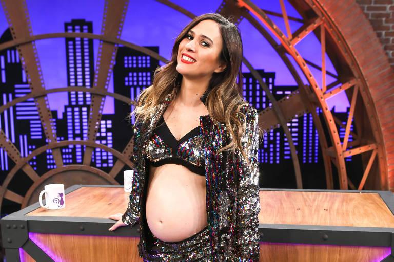 A apresentadora e comediante Tatá Werneck durante a gravação da quarta temporada do Lady Night, do Multishow