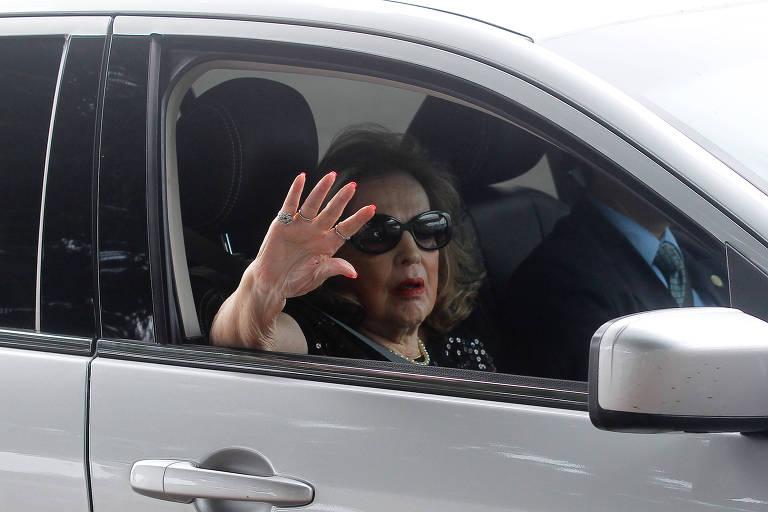 Dilma Jane Rousseff, mãe da ex-presidente da República, Dilma Rousseff (PT), chega ao Palácio do Alvorada em 2014, no segundo turno das eleições