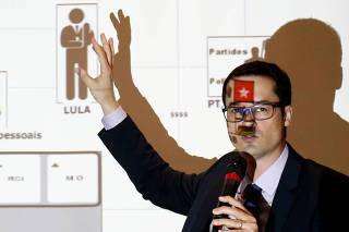 Brazil's prosecutor Deltan Dallagnol speaks during a news conference in Curitiba