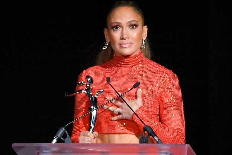 Jennifer Lopez durante evento no início de junho de 2019, em Nova York