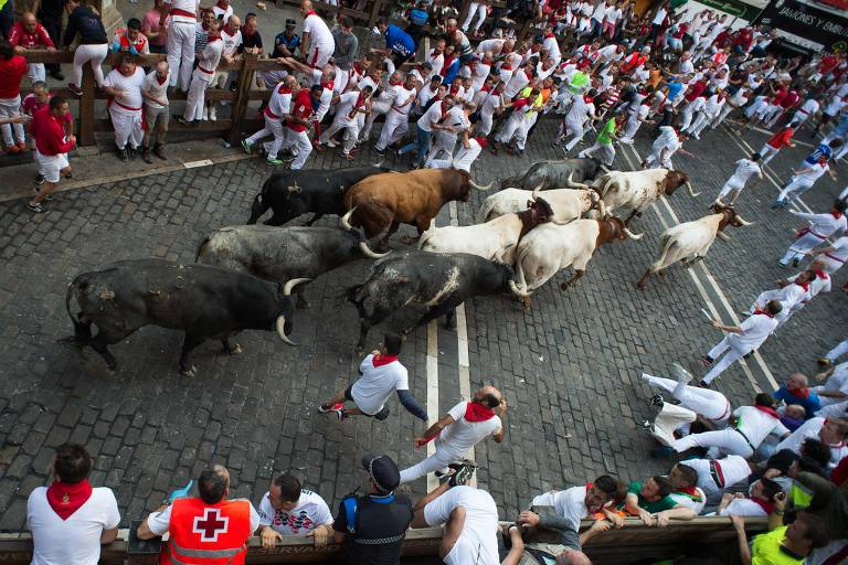 Participants run next to Miura fighting bulls on the last bullrun of the San Fermin festival in Pamplona, northern Spain, on July 12, 2019. - People from around the world flock to the city of 200,000 residents to test their bravery and enjoy the festival's mix of round-the-clock parties, religious processions and concerts. (Photo by JAIME REINA / AFP) ORG XMIT: JR010