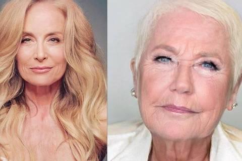 Montagem mostra fotos de Angélica e Xuxa, ambas envelhecidas a partir de app de edição de imagens