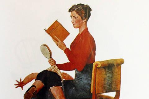 Ilustração de 1933 mostra mãe com livro de psicologia enquanto aplica palmada no filho