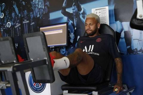 15/07/2019: O atacante Neymar se reapresentou ao Paris Saint-Germain nesta segunda-feira (15) e treinou na academia do clube (Foto: Divulgação/Twitter @NeymarJrSite)