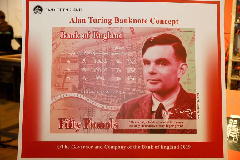 A nova nota de 50 libras que homenageia o matemático Alan Turing.