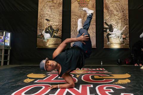 São Paulo, SP, Brasil, 07-07-2019: Entrada da dança na Olimpíada de 2024. Evento de breakdance promovido pela Red Bull. B-boy Pelezinho. (foto Gabriel Cabral/Folhapress)