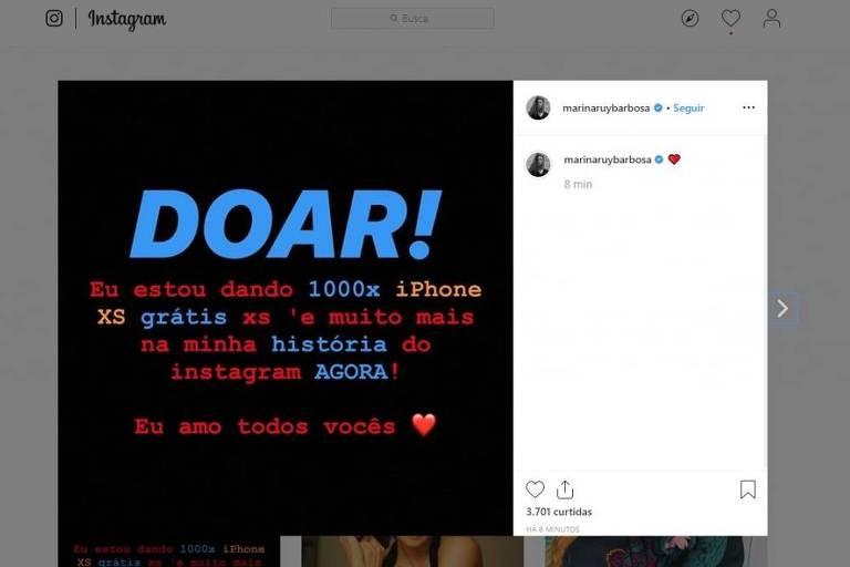 Marina Ruy Barbosa tem Instagram hackeado