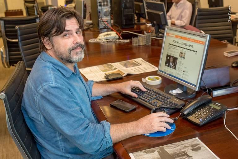 Jornalista Rogério Daflon, na redação do Jornal do Brasil