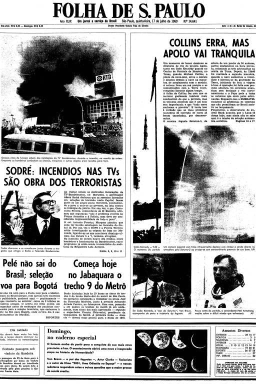 Primeira página da Folha de S.Paulo de 17 de julho de 1969