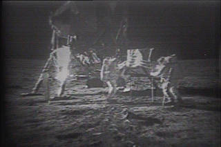 In a photo via Sotheby's, footage of the Apollo 11 moon walk from a collection of tapes. (Via Sotheby's via The New York Times)