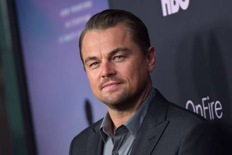 Narrator and producer, US actor Leonardo DiCaprio attends the Los Angeles premiere of HBO documentary