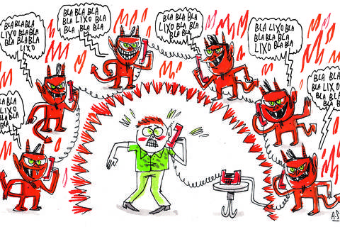 Ilustração do Especial Marketing invasivo - Allan Sieber DIREITOS RESERVADOS. NÃO PUBLICAR SEM AUTORIZAÇÃO DO DETENTOR DOS DIREITOS AUTORAIS E DE IMAGEM