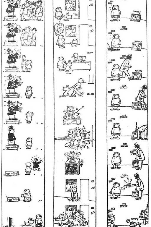 """Algumas das primeiras tirinhas do Bidu, personagem de Mauricio de Sousa. Bidu, o cachorrinho azul criado por Mauricio de Sousa, apareceu pela primeira vez em 1959, nas páginas da Folha. Para comemorar o aniversário de quatro anos do personagem, a """"Folhinha"""" republicou as primeiras tirinhas de Bidu na edição de 29 de dezembro de 1963. Reprodução da página de 29/12/1963, que reproduziu as primeiras tirinhas."""