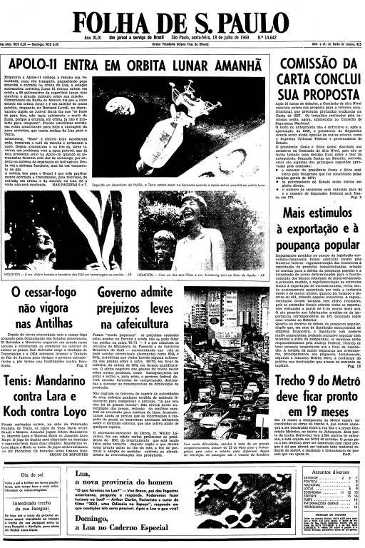 Primeira página da Folha de S.Paulo de 18 de julho de 1969
