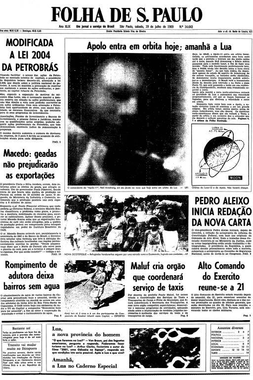 Primeira página da Folha de S.Paulo de 19 de julho de 1969