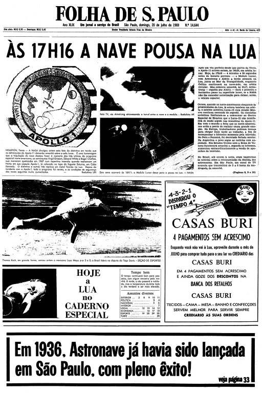 Primeira página da Folha de S.Paulo de 20 de julho de 1969