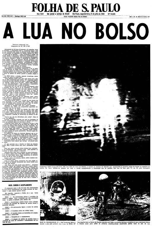 Primeira página da Folha de S.Paulo de 21 de julho de 1969