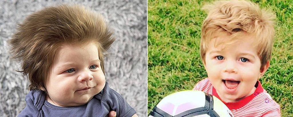 pequeno Junior Cox-Noon chamou a atenção por causa de sua vasta cabeleira; o bebê com um ano