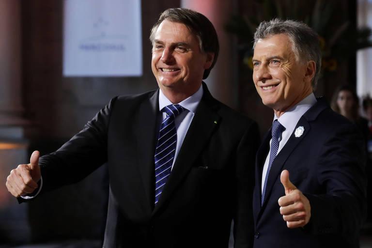 Os presidentes de Brasil, Jair Bolsonaro, e Argentina, Mauricio Macri, em Santa Fé, para reunião de líderes do Mercosul