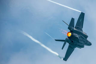 U.S. Air Force Captain Andrew ?Dojo? Olson performs in a F-35A Lightning II in a demonstration during the Miami Beach Air and Sea Show