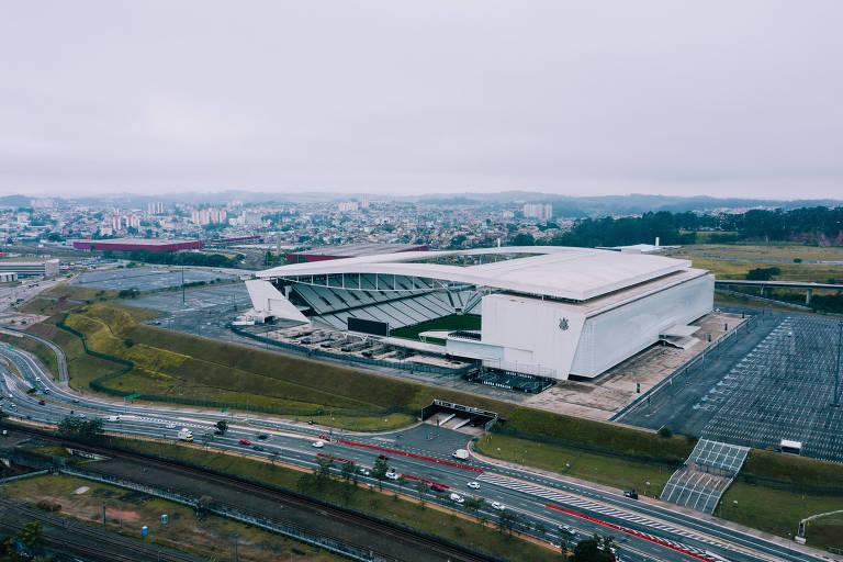 A Arena Corinthians, estádio do Corinthians, fica na zona leste da São Paulo e foi construído para a Copa do Mundo de 2014