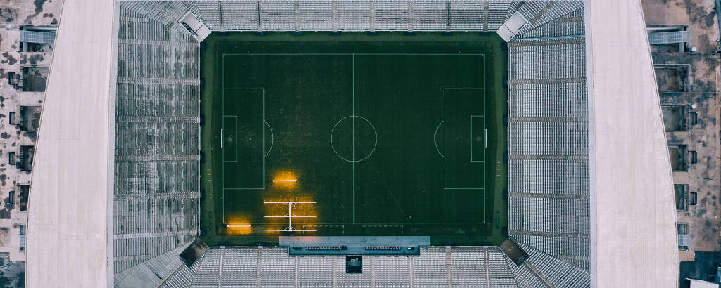 Arena Corinthians, em Itaquera, zona leste de São Paulo, vista de cima