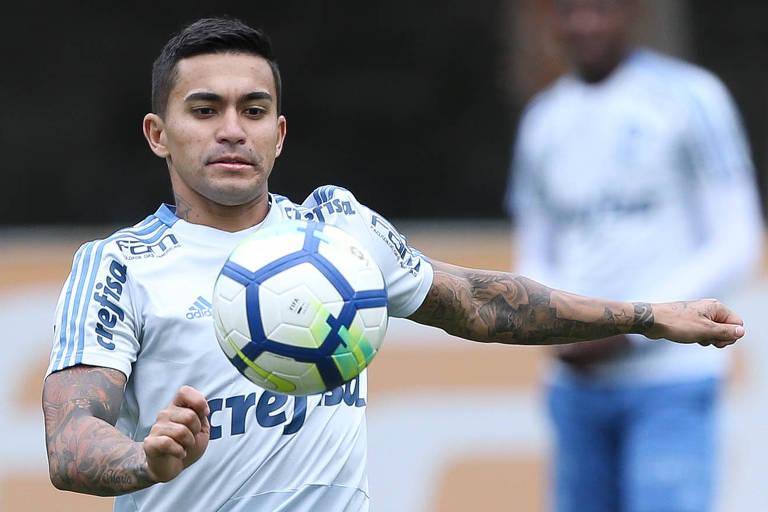 Dudu, camisa 7 do Palmeiras, em treino na Academia de Futebol