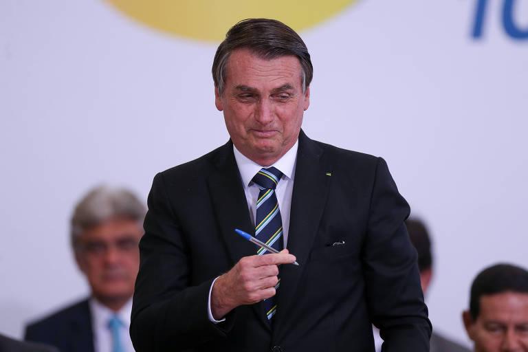 O presidente Jair Bolsonaro durante solenidade alusiva aos 200 dias de governo, no Palácio do Planalto