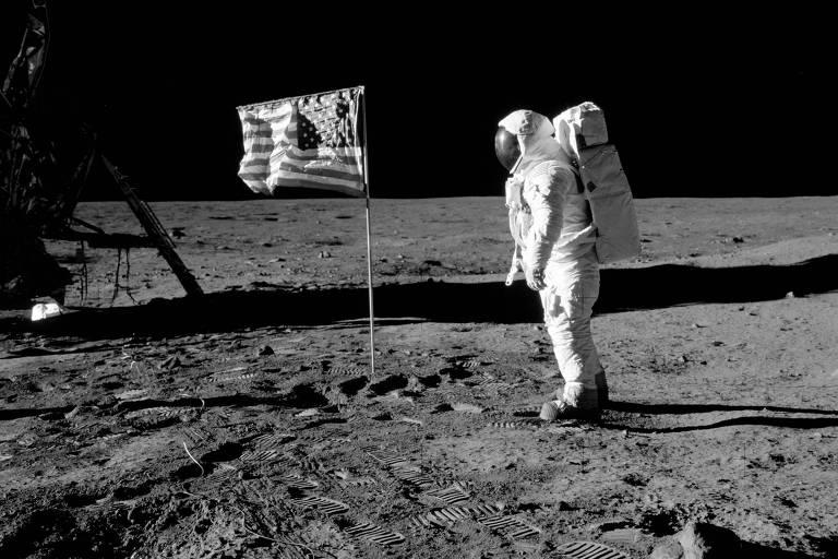 Edward 'Buzz' Aldrin na Lua, em julho de 1969