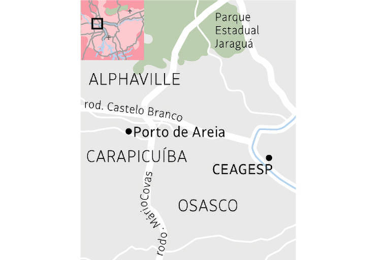 Mapa de Porto de Areia, em Carapicuíba