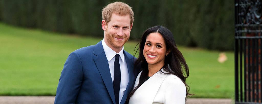 O príncipe Harry com a mulher, a duquesa de Sussex, Meghan Markle