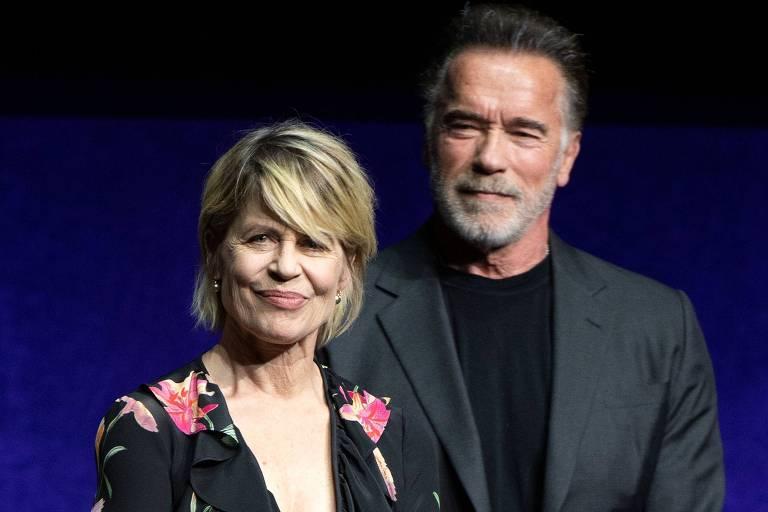 Os atores Linda Hamilton (à esq.) e Arnold Schwarzenegger
