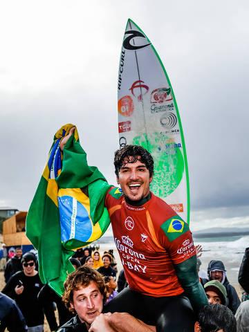 JEFFREYS BAY, SOUTH AFRICA - JULY 19: Two-time WSL Champion Gabriel Medina of Brazil wins the 2019 Corona Open J-Bay after winning the final at Supertubes on July 19, 2019 in Jeffreys Bay, South Africa. (Photo by Ed Sloane/WSL) ORG XMIT: 775361132